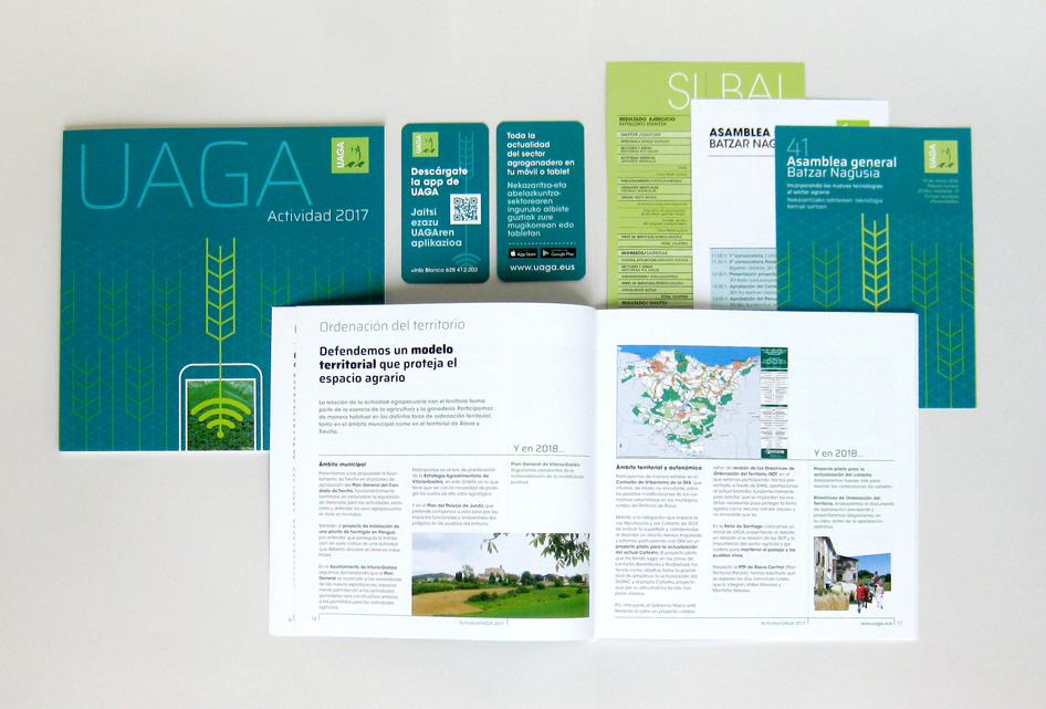 Memoria de UAGA y elementos de comunicación. Design by aerredesign